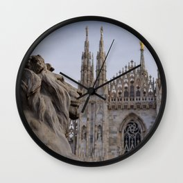 Milan cathedral with a statue of lion - Milan Lombardy -ITALY- Wall Clock