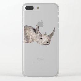 Watercolor Rhino Clear iPhone Case