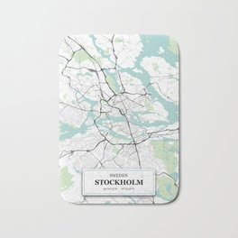 Stockholm Sweden City Map with GPS Coordinates Bath Mat