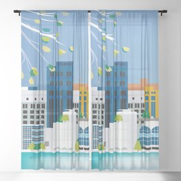 Madison, Wisconsin - Skyline Illustration by Loose Petals Sheer Curtain
