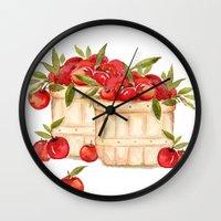 craftberrybush Wall Clocks featuring Apple Harvest  by craftberrybush