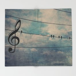 Nature's Choir Birds and Music A611 Throw Blanket