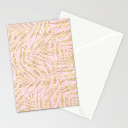 Tropical Gold Palm Leaves Pink Design Stationery Cards