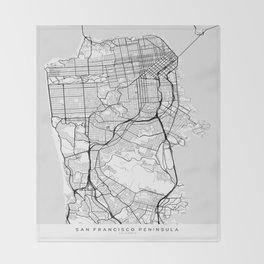 Scandinavian map of San Francisco Penninsula Throw Blanket