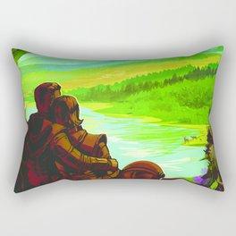NASA Space Earth Retro Poster Futuristic Explorer Poster Rectangular Pillow