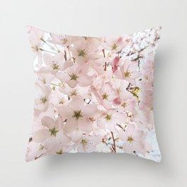 Botanical Spring Cherry Blossoms Throw Pillow