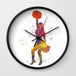 young woman Cheerleader Art Girl Poms Dance in watercolor 09 Wall Clock