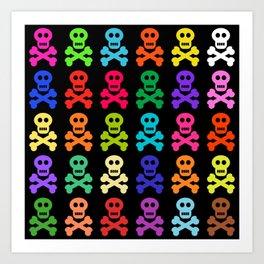 Colorful Pirate Skulls Art Print