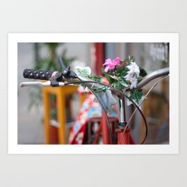 Flowers in the bicycle Art Print