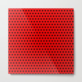 Polka / Dots - Black / Red - Medium Metal Print