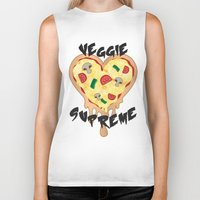 vegetarian Biker Tanks featuring Veggie Supreme - Deluxe Vegetarian Heart Shaped Pizza  by MagicCircle