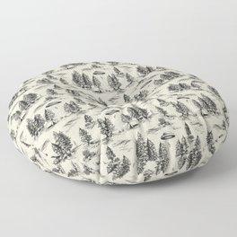 Black Alien Abduction Toile De Jouy Pattern Floor Pillow