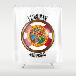 Florida Proud Flag Button Shower Curtain