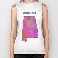 alabama Biker Tanks featuring Alabama Map by Roger Wedegis