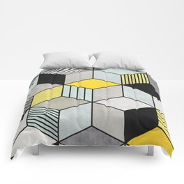 Colorful Concrete Cubes 2 - Yellow, Blue, Grey Comforters