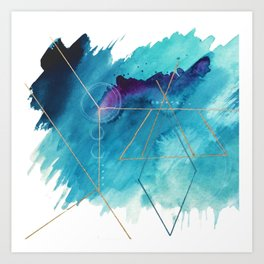Galaxy Series [1]: an abstract mixed media piece in blue, purple, white, and gold Art Print