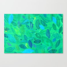 Painted Leaves_Green Canvas Print