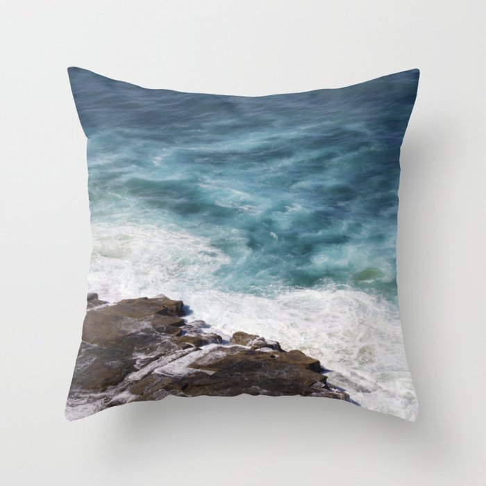 Blue Waves on the Rocks Throw Pillow