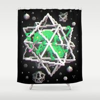 escher Shower Curtains featuring Trixel Stars - M. C. Escher by Marco Mottura - Mdk7