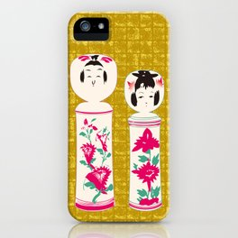Japanese Kokeshi on Gold-leaf Screen iPhone Case