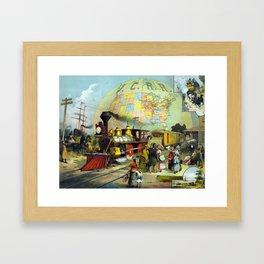 Vintage Transcontinental Railroad Framed Art Print