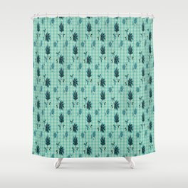 country blue flowers pattern Shower Curtain
