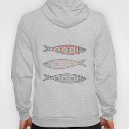 Traditional Portuguese icon. Colored sardines with typical Portuguese tiles patterns. Vector illustr Hoody