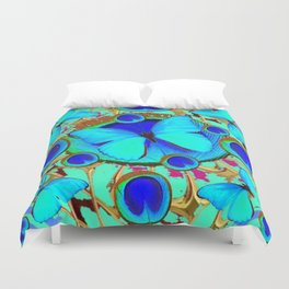 Royal Blue Eyes & Butterfly Dreams Abstract  Pattern Art Duvet Cover