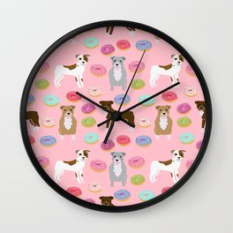 Pitbull dog breed donuts doughnut dog art pibble dog lover rescue pupper Wall Clock