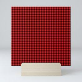 Small Valentine Red Heart Rich Red and Black Buffalo Check Plaid Mini Art Print