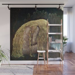 The Girl Who Lost It All, blond nude at the lakeside magical realism painting by John Bauer Wall Mural