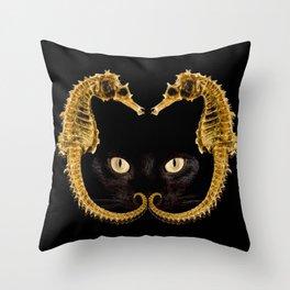 Cat Fish Throw Pillow