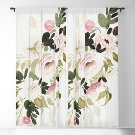 Romantic Loose Rose Bouquet Blackout Curtain