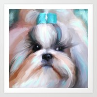 shih tzu Art Prints featuring Little Boy Shih Tzu by Jai Johnson