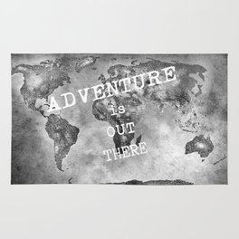 Adventure is out there... Stars world map BW Rug