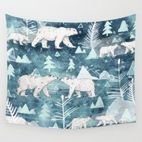bears Wall Tapestries featuring Ice Bears by Sandra Dieckmann