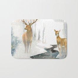 snowing forest Bath Mat