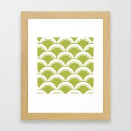 Japanese Fan Pattern Chartreuse Framed Art Print