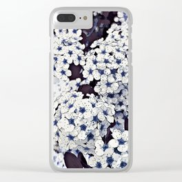 Bush of flowers in white and blue Clear iPhone Case