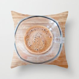 Transparent cup of coffee on a cutting board Throw Pillow