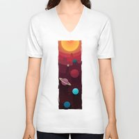 solar system V-neck T-shirts featuring Solar System by badOdds
