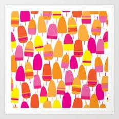 Pink Lobster Buoy Pattern Art Print