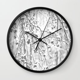 Cloudy Day In The Forest B&W Snowy Rowan Branches With Berries #decor #society6 #homedecor Wall Clock