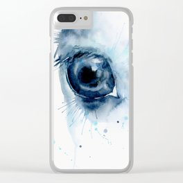 Watercolor Horse Eye Clear iPhone Case