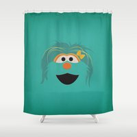sesame street Shower Curtains featuring Sesame Street Vintage Nursery Art Rosita Retro Style Minimalist Poster Print by The Retro Inc