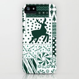 Holiday Green Quilt Design iPhone Case