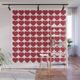 Red heart patterns. Hearty hearts Wall Mural