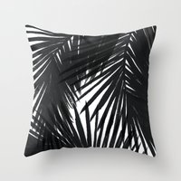 Throw Pillows featuring Palms Black by Caitlin Workman
