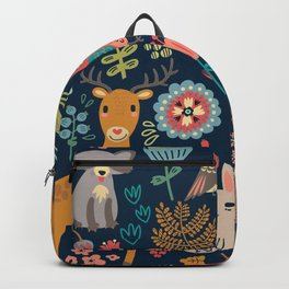Blue Woodland Critters Pattern Backpack