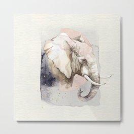 Elephant Portrait Soft Watercolor Painting Metal Print